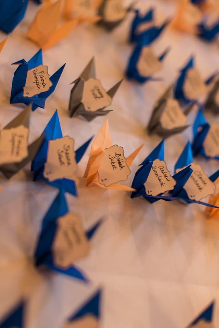 paper crane escort cards