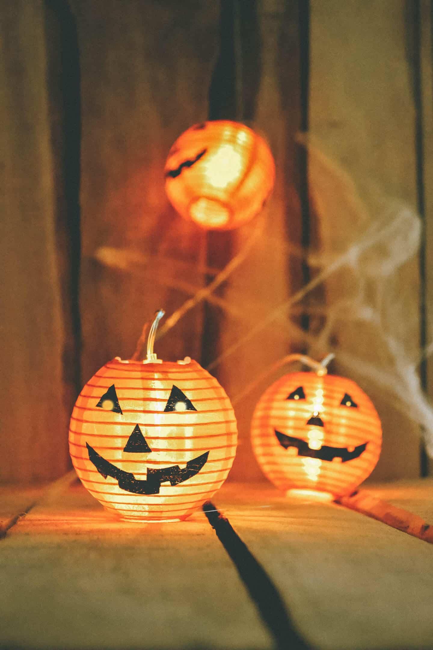 Halloween Decoration Set Cute Wood Pumpkins, Three Silly Jack-O-Lanterns