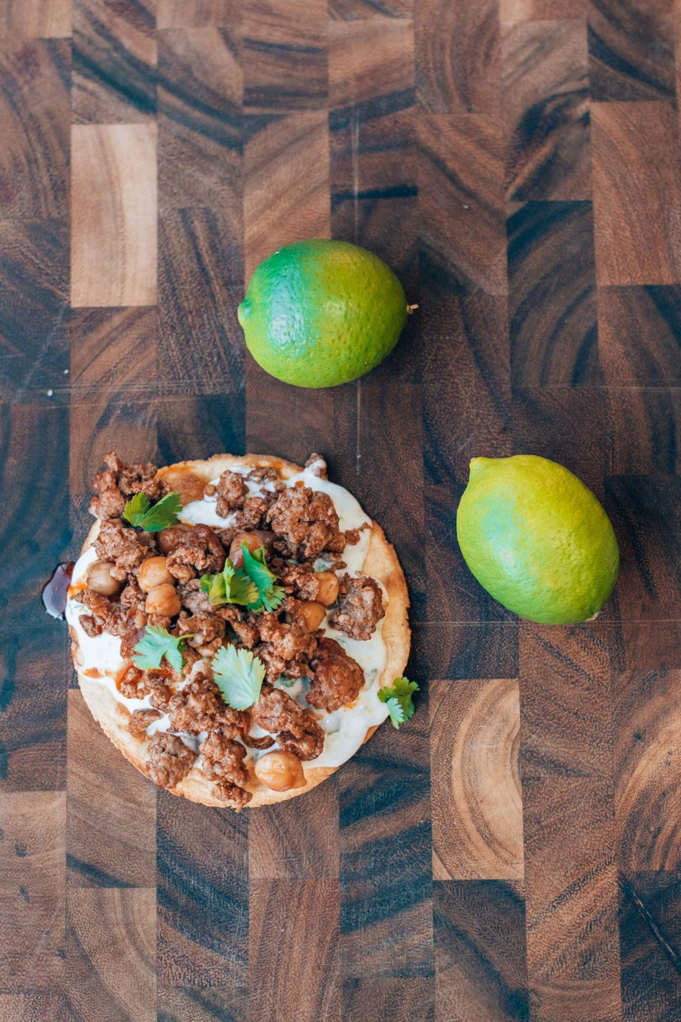 Chorizo tostada recipe, by blogger What The Fab