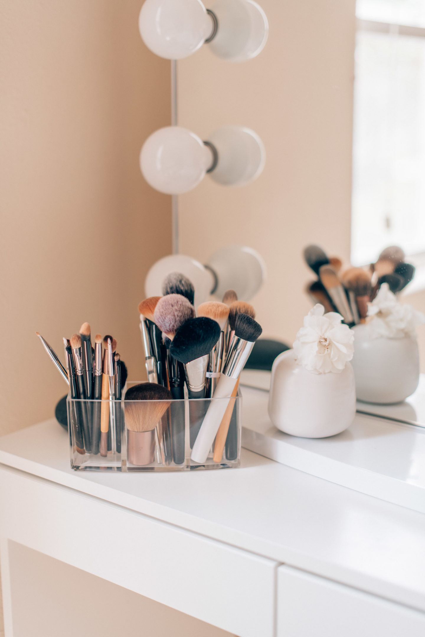 Makeup vanity organization ideas, by lifestyle blogger What The Fab