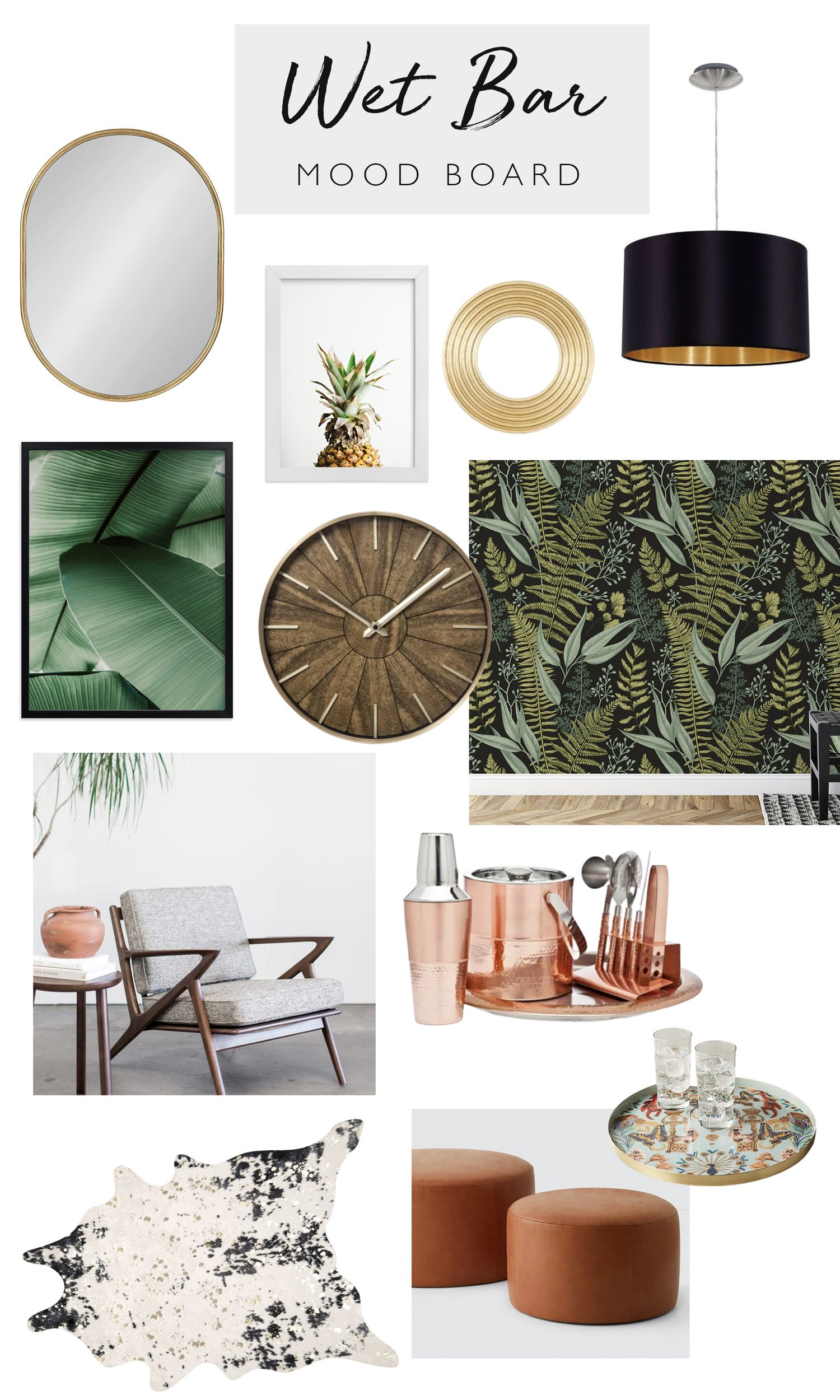 Tropical home bar mood board, by lifestyle blogger What The Fab