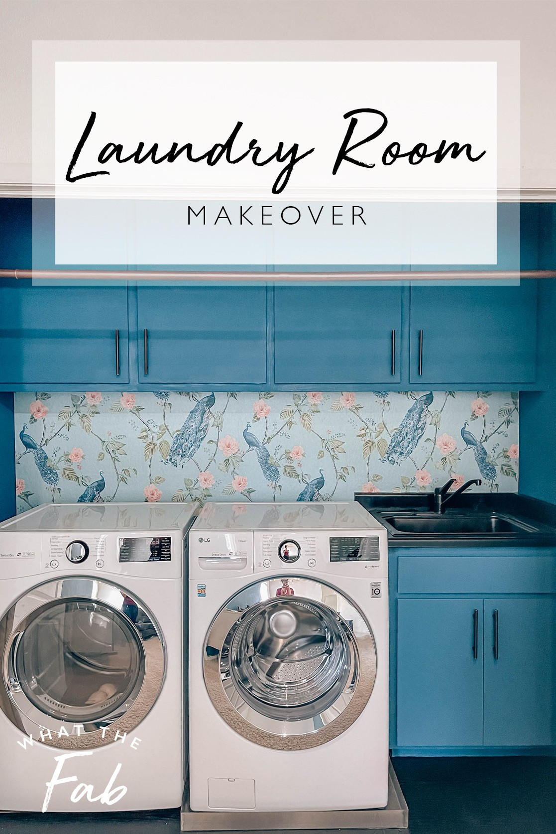 Laundry room wallpaper and makeover, by lifestyle blogger What The Fab