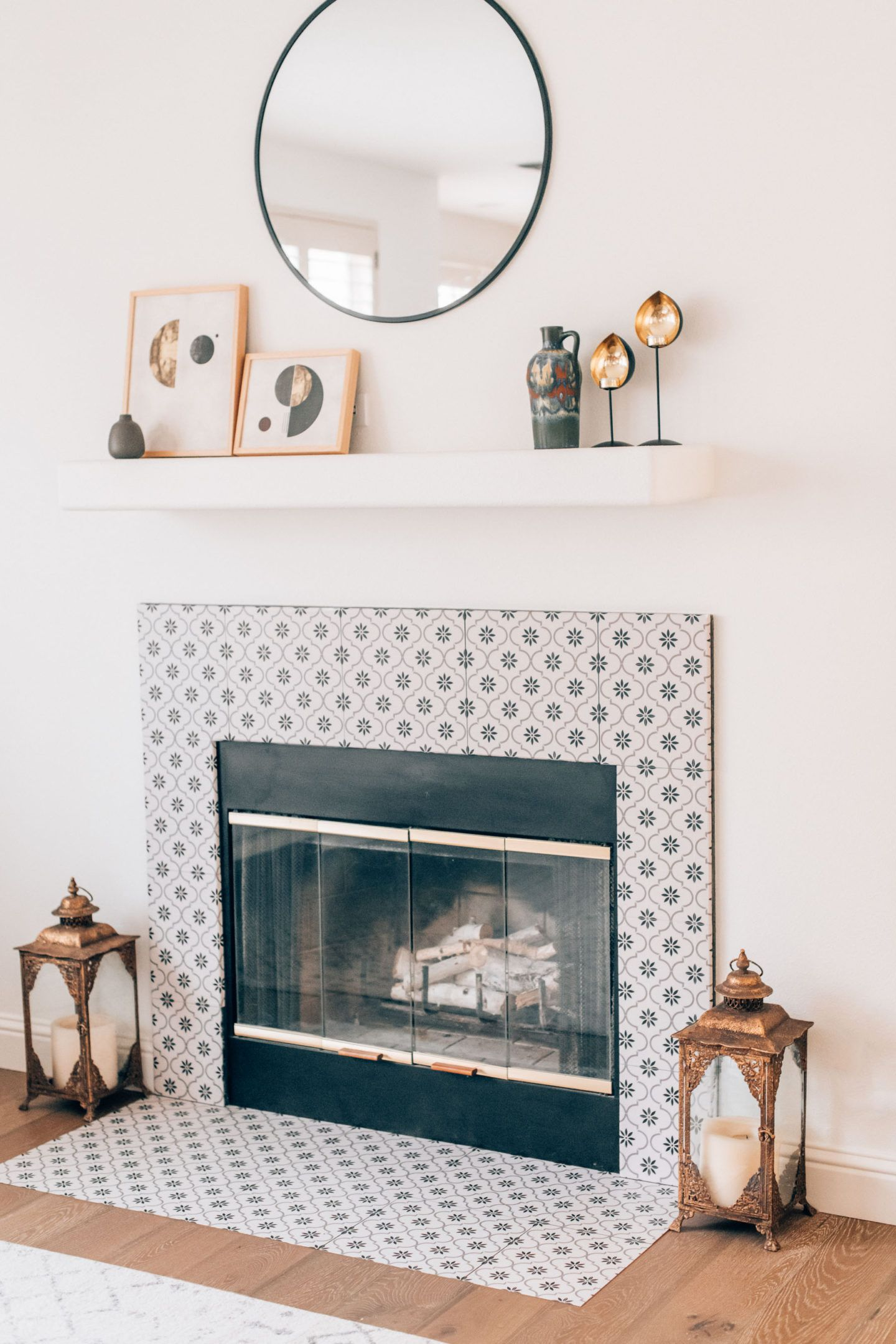 Fireplace stickers makeover, by lifestyle blogger What The Fab
