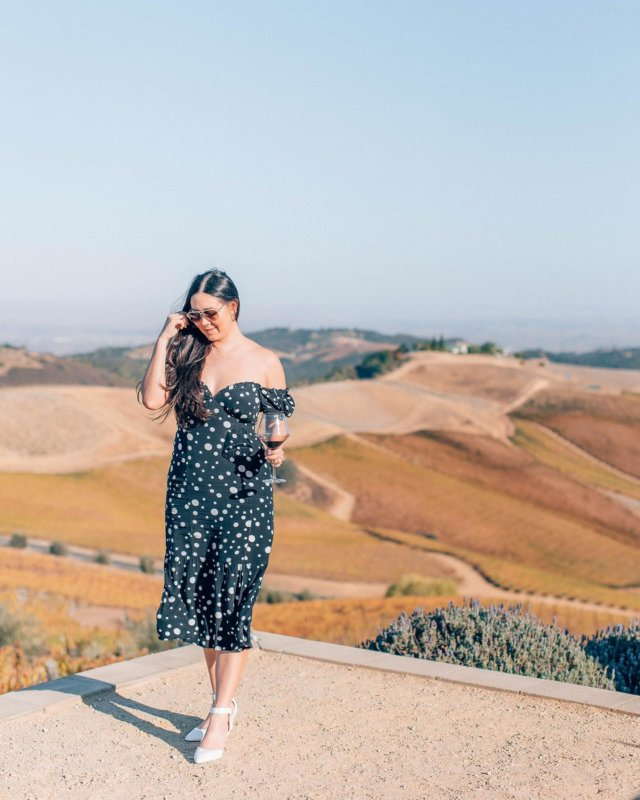 Picture-perfect views at @daouvineyards. 🖼  Shoutout to @laseraway for keeping my legs silky smooth! 💖  My dress is @loversfriendsla from @revolve. 🖤 #revolveme #wtfabtravel #pasorobles